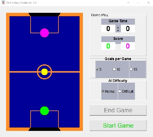 کد متلب بازی Air Hockey (ایر هاکی)